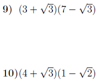 Multiplying out brackets including surds worksheet (with solutions)
