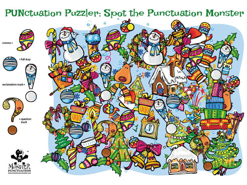 Christmas Punctuation: Spot the Punctuation Monsters