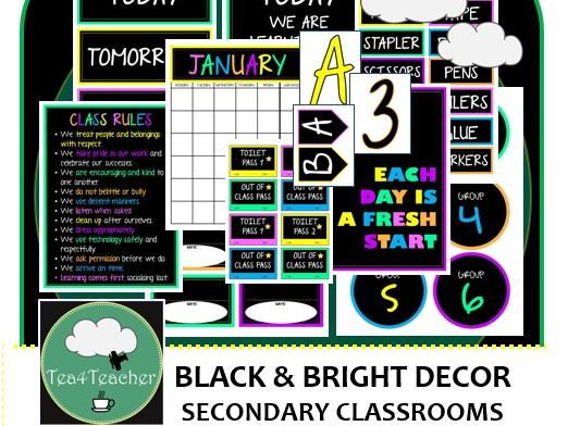 Black & Bright Colours Décor Set for Secondary Classrooms– 110+ Signs Posters Headings Calendar