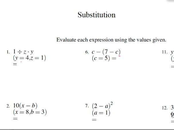 GCSE mathematics worksheet – substitution