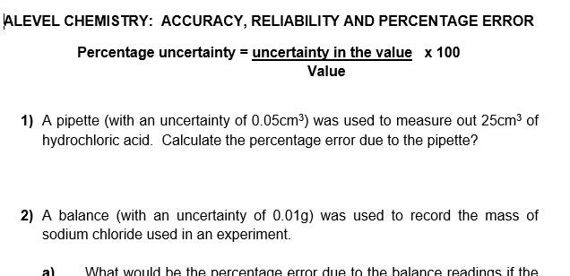 Calculating percentage error