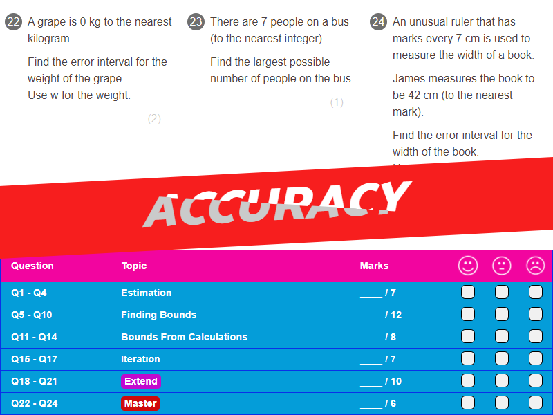 Accuracy Worksheet + Answers (Higher GCSE)