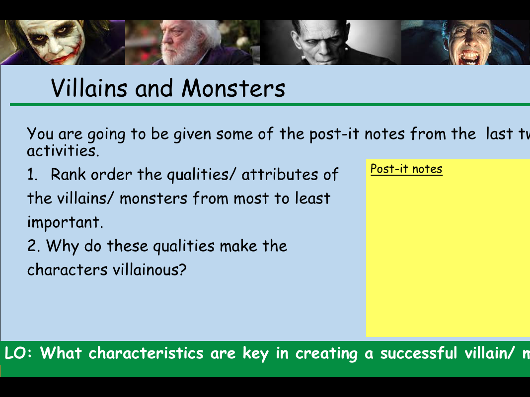 KS3 Monsters and Villains