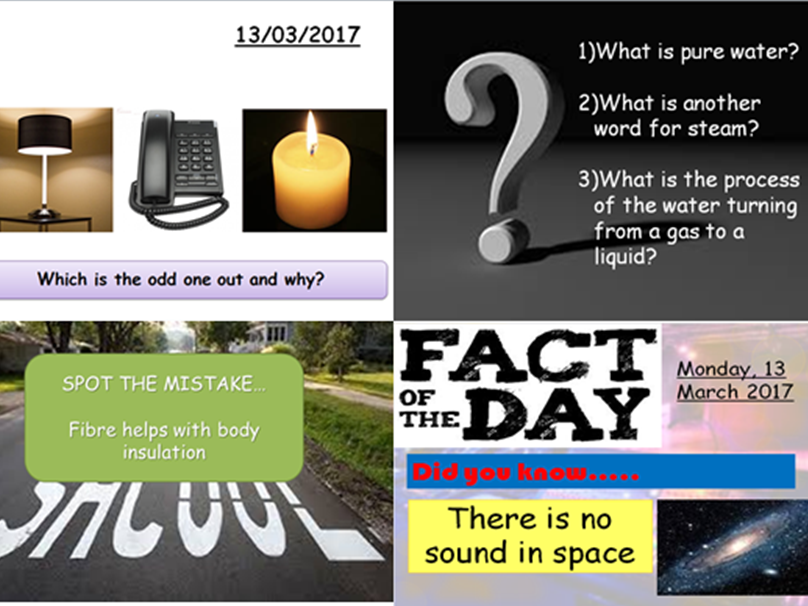 Science starter and plenary activities