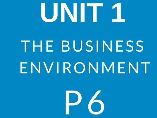 BTEC Business Level 3 Unit 1 The Business Environment P6