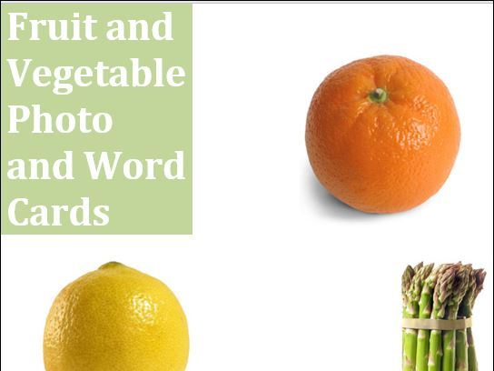 Fruit and Vegetable Photo and Word Cards