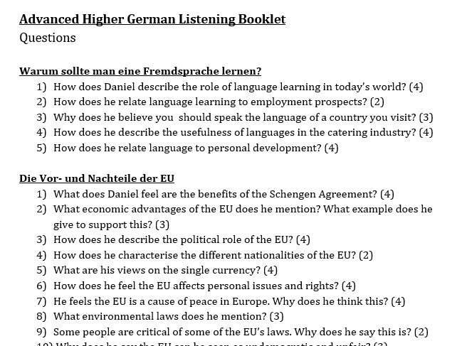 Advanced Higher German / A-Level German Listening Booklet