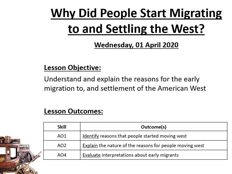AQA 9-1 History - Early Migrants (America 1840-1895)