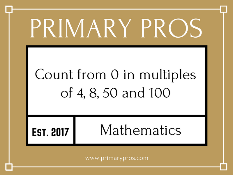 Count from 0 in multiples of 4, 8, 50 and 100