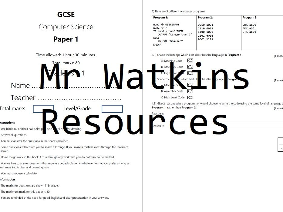 GCSE Computer Science Paper 1 and 2 Mock Exam Bundle in style of AQA New Spec Grade 9 - 1 8520