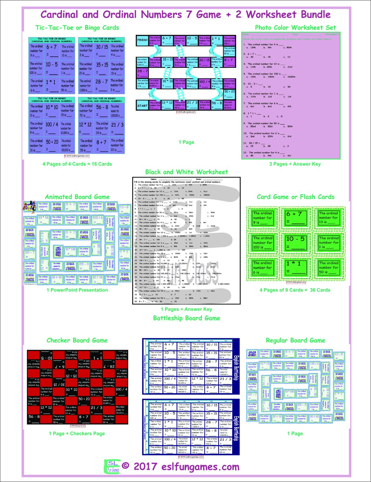 Cardinal and Ordinal Numbers 7 Game Plus 2 Worksheet Bundle