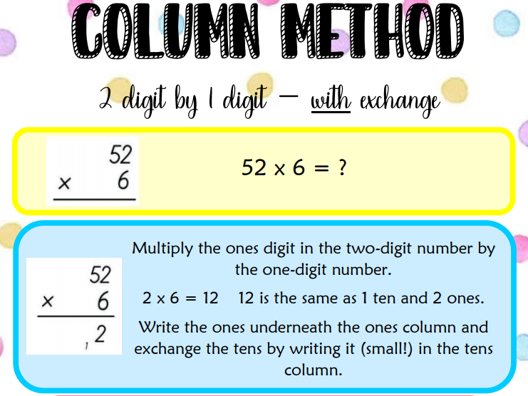 Column multiplication - WITH exchange