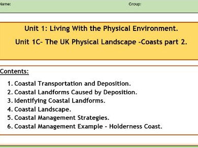 AQA GCSE 9-1 : Flipped Learning Revision Booklet- Coastal Landscapes in the UK Part 2