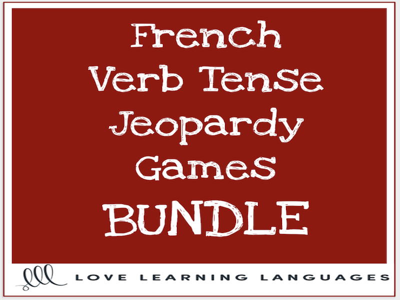 French verb tenses powerpoint jeopardy games bundle - 14 different tenses
