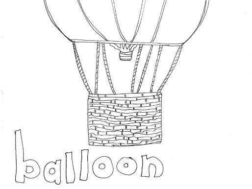 Balloon: Transport and Travel: Colouring Page