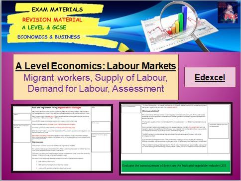 Demand and Supply of Labour Case Study, Questions and Assessment: A Level Economics