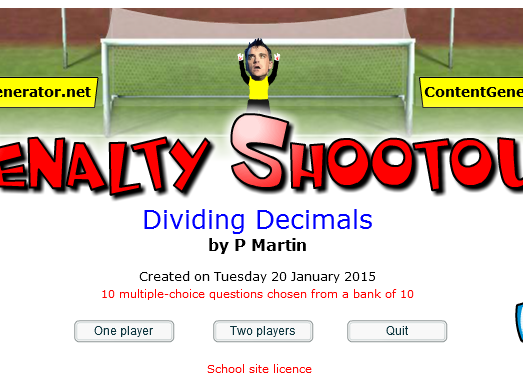 Starter or Plenary Game involving the Division of Decimals.