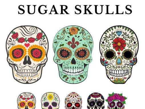 Sugar Skull Vector - 15 Color / B&W