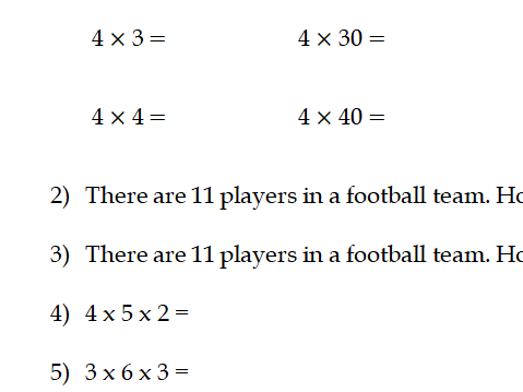 Year 4 Multiplication Revision