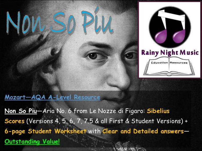AQA A Level Music Set Work Full Teaching  and Learning Work Pack NON SO PIU from FIGARO by MOZART