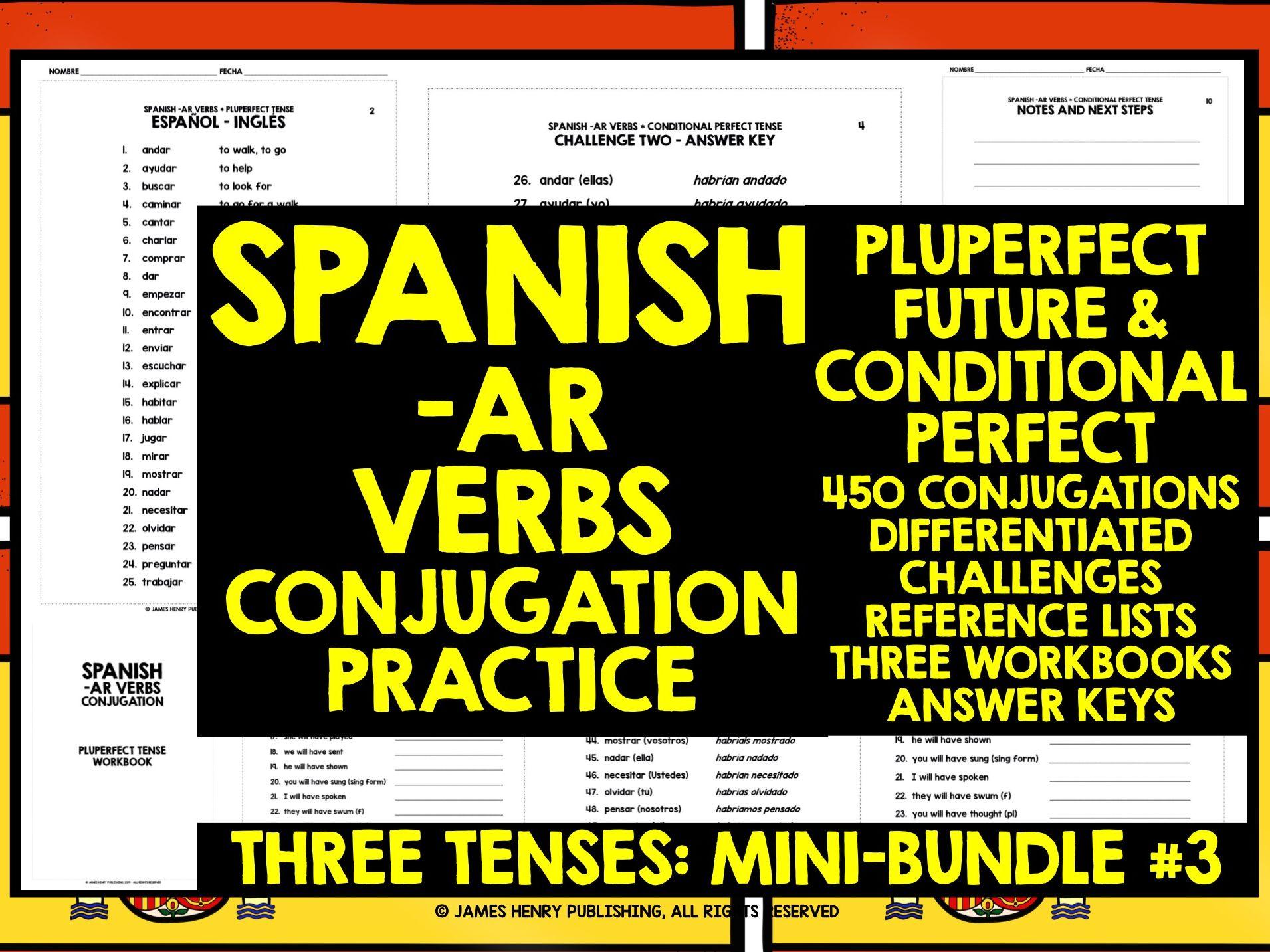 SPANISH -AR VERBS CONJUGATION MINI-BUNDLE #3