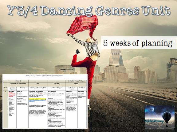 Y3/4 PE Dance Genres Unit LKS2 Dance 5 Lessons Y4