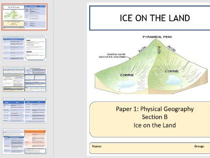 GCSE AQA A Ice on the Land Knowledge organisers and Revision Summaries.