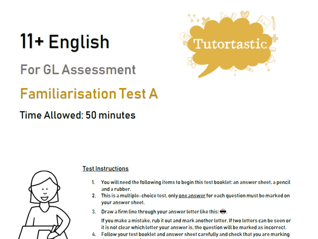 11+ English Familiarisation Test A - GL Style