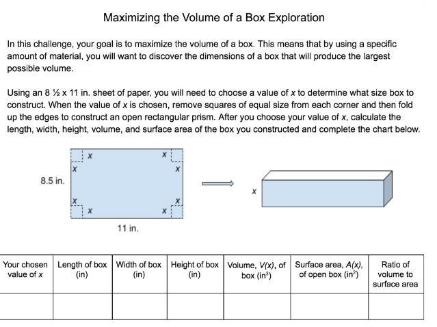 Calculus Exploration Maximizing The Volume Of A Box By
