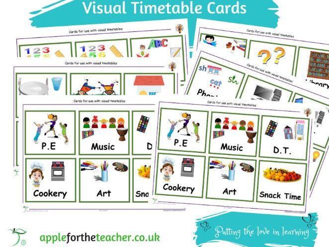 Visual Timetable Cards to support learners with Special Educational Needs