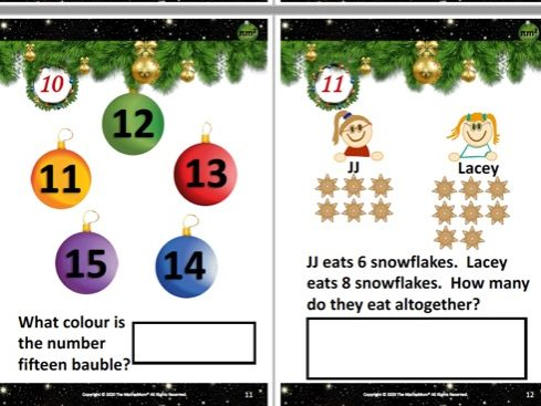 Reception / Y1 Alternative Maths Advent Calendar