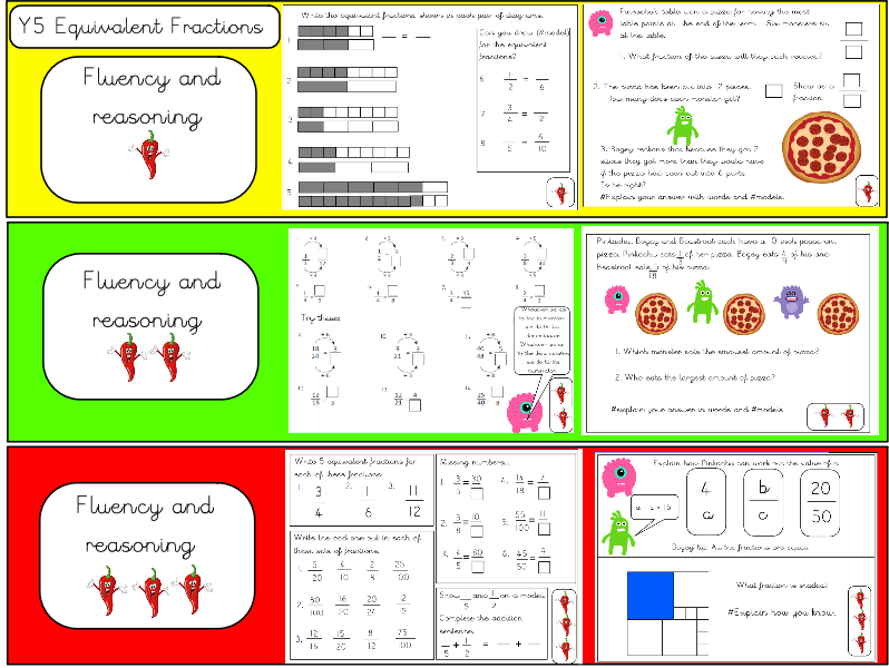 Year 5 Equivalent Fractions Fluency and Reasoning