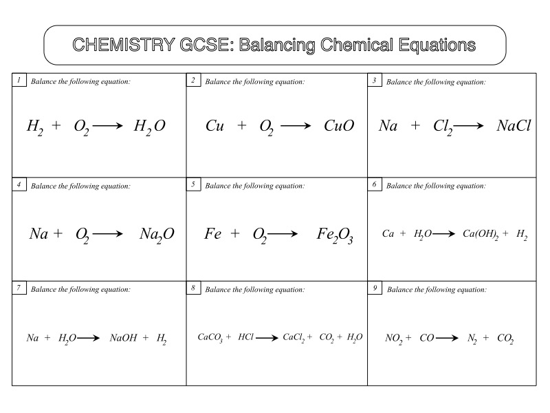GCSE Chemistry Worksheet: Balancing Chemical Equations