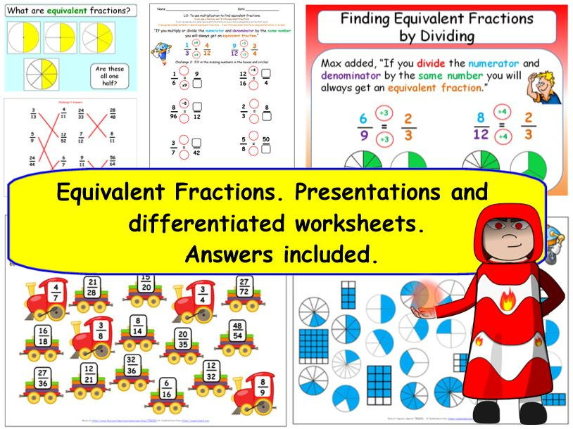 Y4 Equivalent Fractions. Presentations and differentiated worksheets.  Improper & Mixed.
