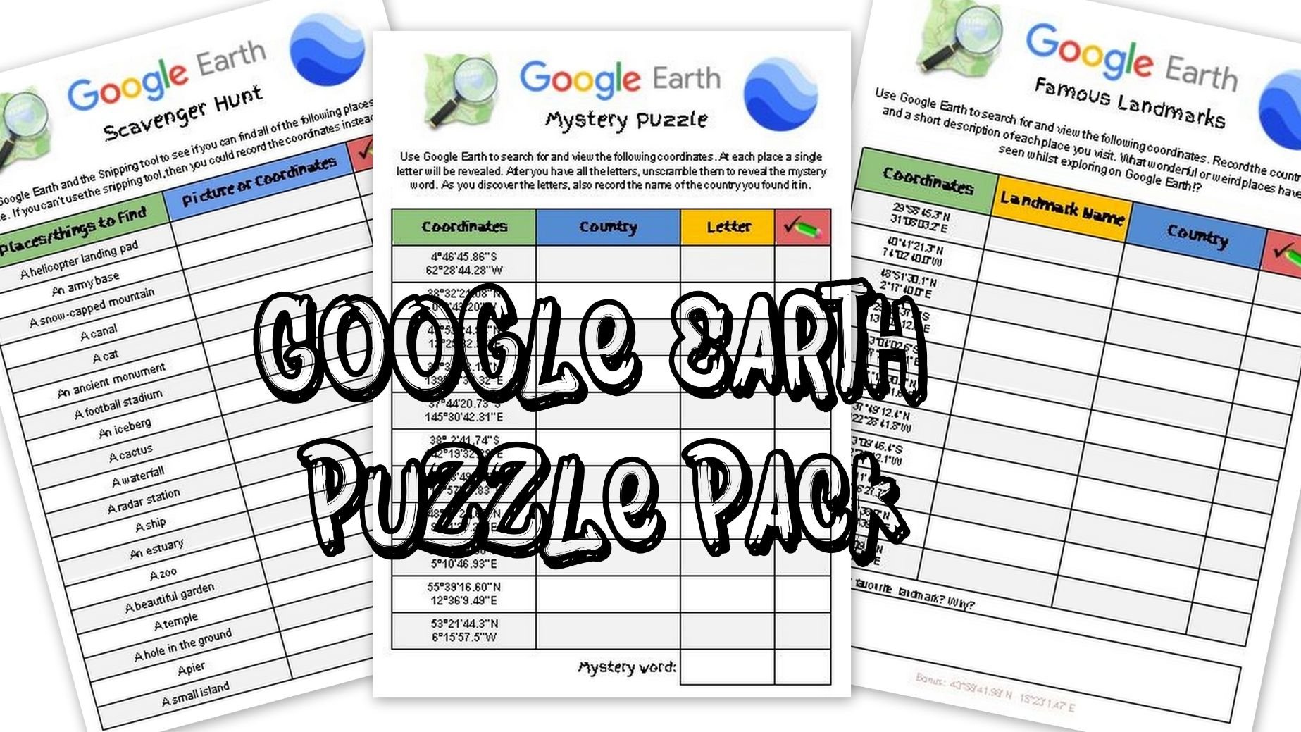 Google Earth Puzzle Pack