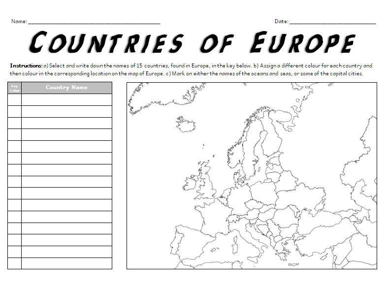 Countries of Europe A3 Map Worksheet