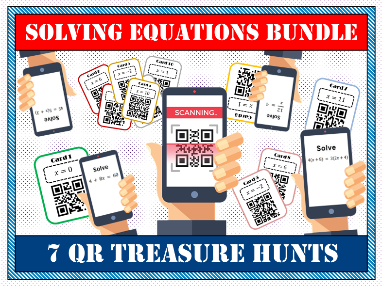 ⭐ 💡 Solving Equations  BUNDLE QR Treasure Hunts 📱 ⭐