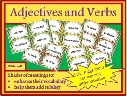 English, literacy, verbs and adjectives, synonyms; cue cards: 196 adjectives and 130 verbs