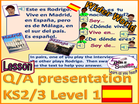 PRIMARY SPANISH LESSON (KS2/3): Town rap, where you come from & nationality (UK/ France /Spain)