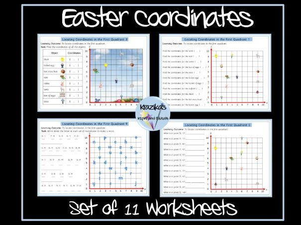 Easter Maths - Coordinates in First Quadrant Worksheets