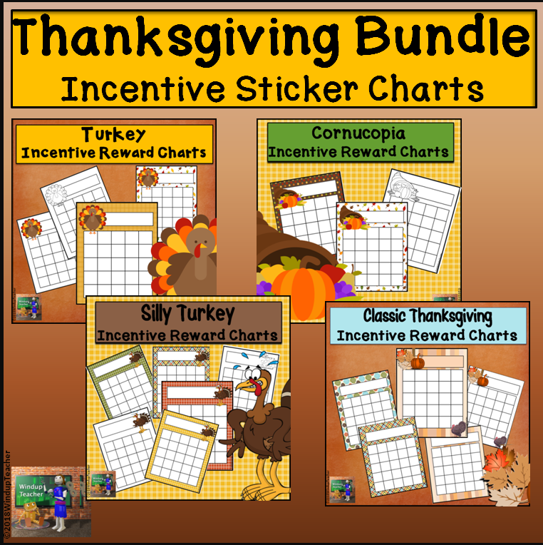 Thanksgiving Themed Incentive Reward Sticker Charts BUNDLE