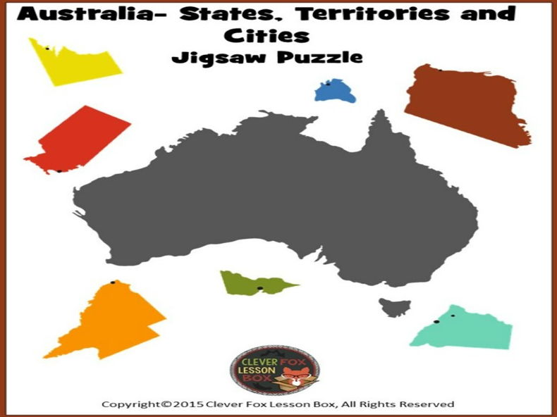 Map Of Australia Jigsaw Puzzle.Australian Map Jigsaw Cut Out