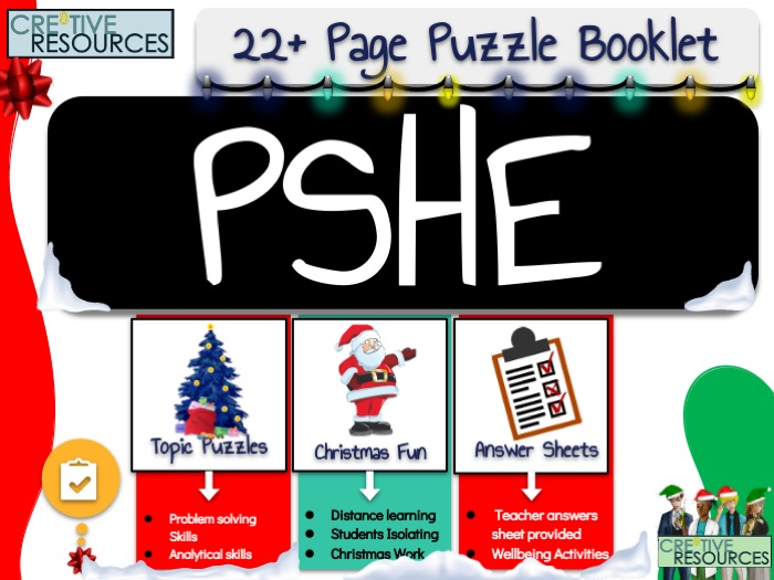 PSHE Christmas Puzzle Work Book