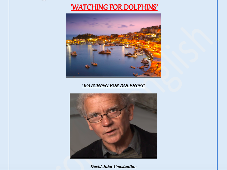 'WATCHING FOR DOLPHINS' by DAVID JOHN CONSTANTINE A CRITICAL ANALYSIS