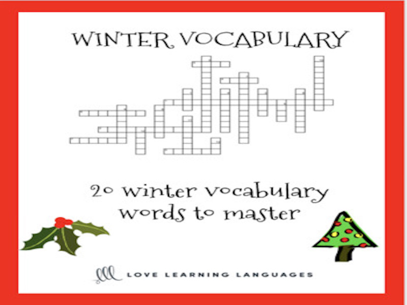 ESL - ELL Winter Vocabulary Crossword Puzzle