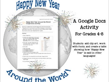 Happy New Year Around the World--GOOGLE DOCS Activity Gr 4-8