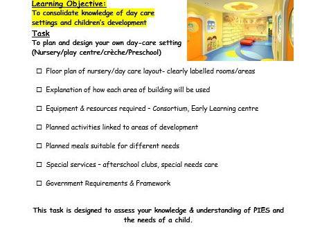 Design a Childcare Provision - Task - 3-5 Hour Lesson activity - NEW GRADE GCSE SUCCESS CRITERIA