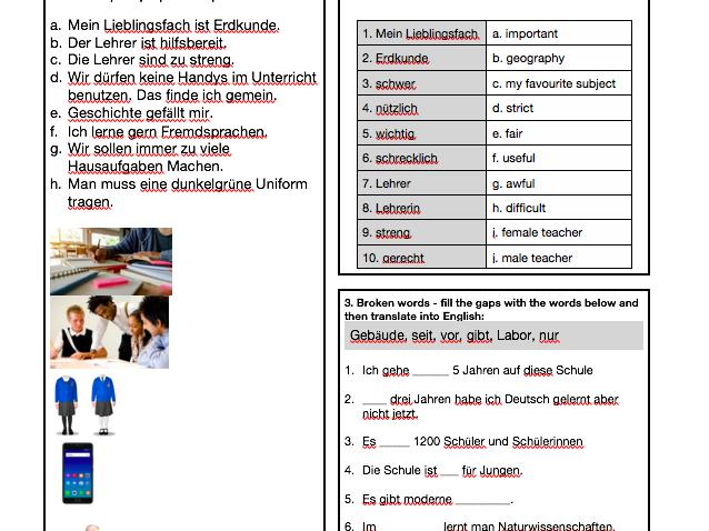 GCSE School vocabulary revision