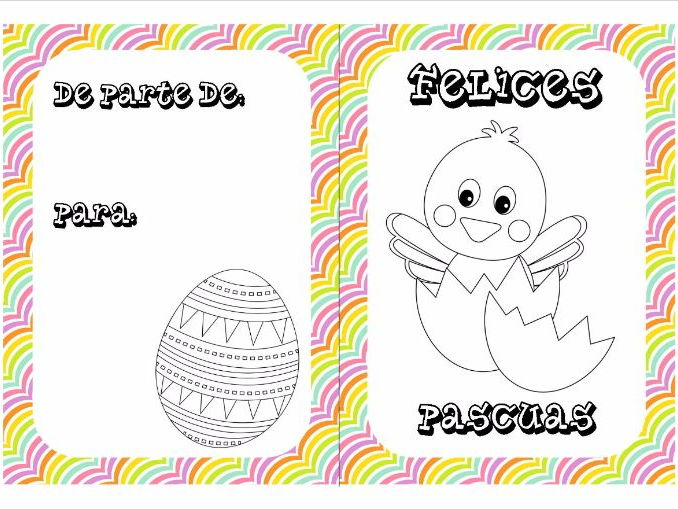 Spanish Easter colouring cards 2