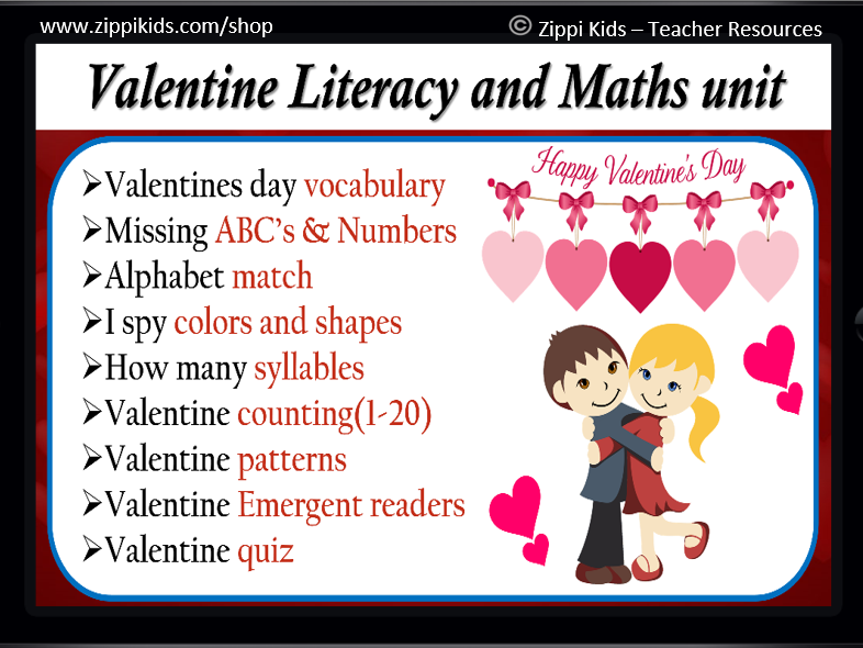 Valentine Literacy and Math Unit | All About Valentines Day | – 73 Google Slides
